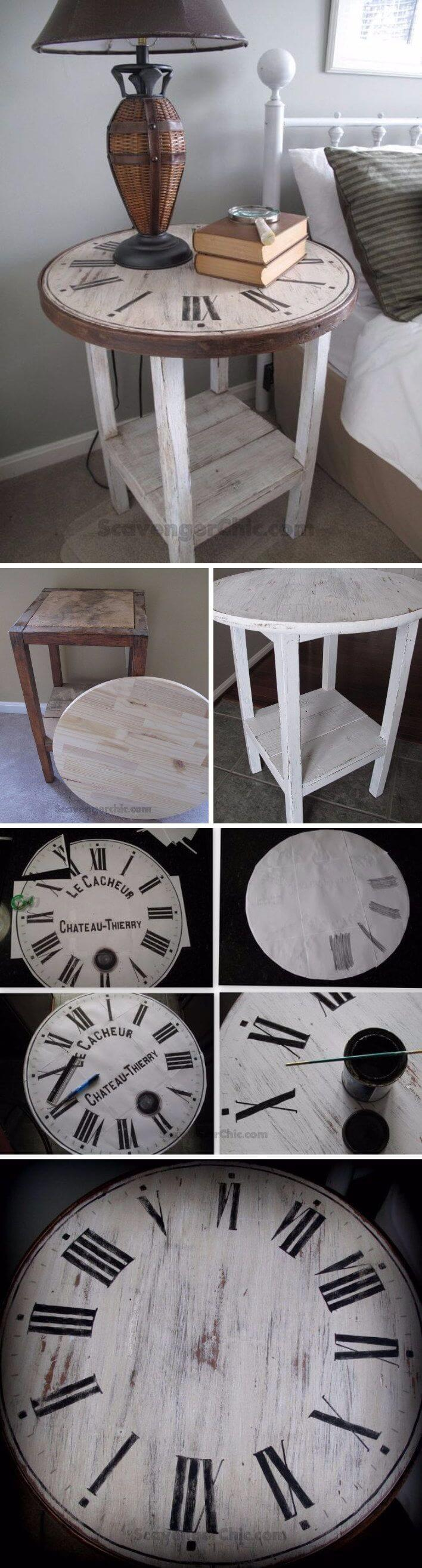 Clock face wooden side table