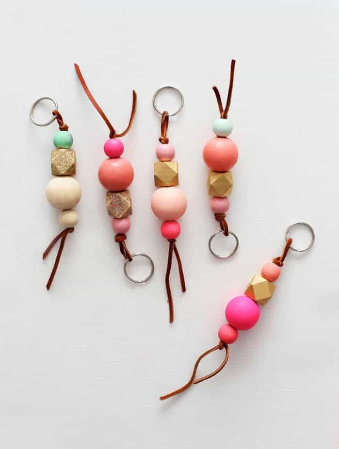 Colourful wood bead keychains 15 DIY Keychain Ideas That Are Homemade and Cool