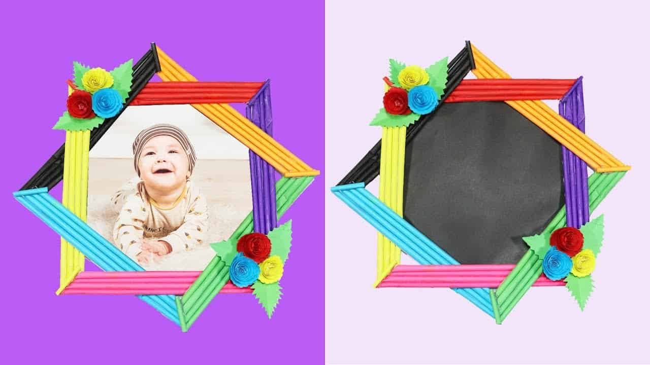 Colourful woven paper frame