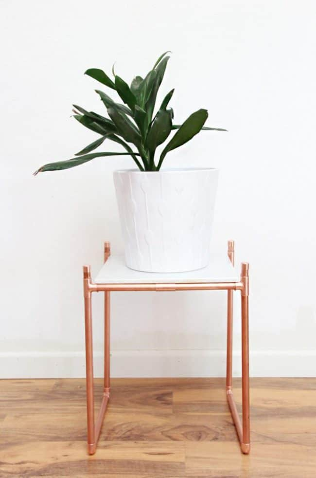 Copper pipe and marble plant table