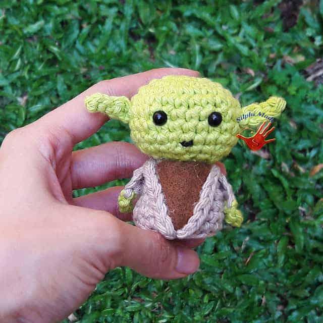 Crocheted mini Yoda