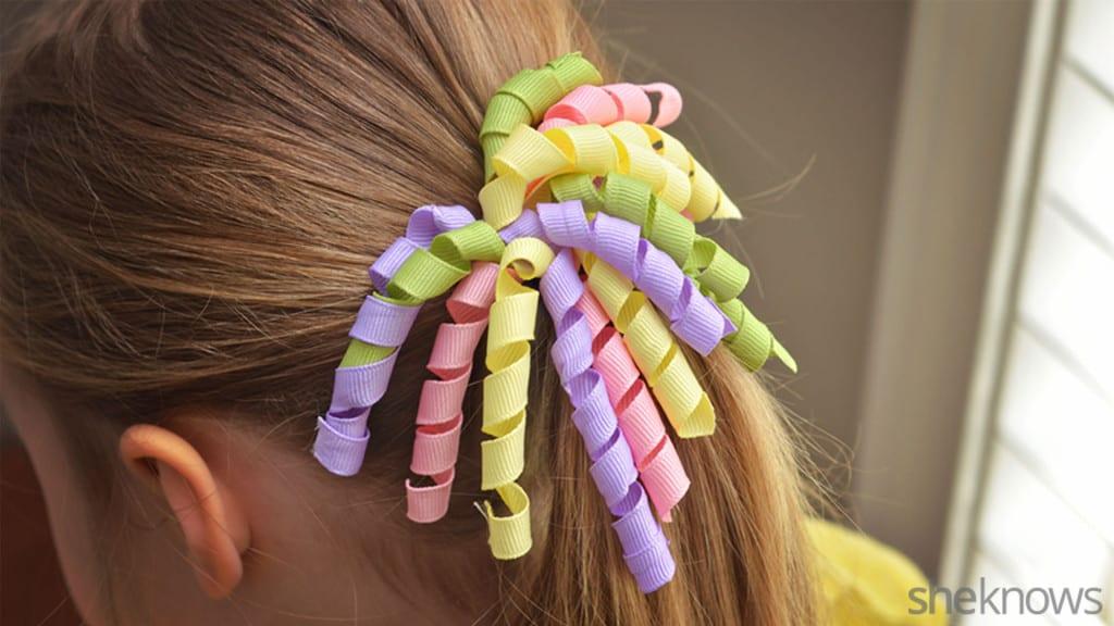 Curly ribbon hair bows
