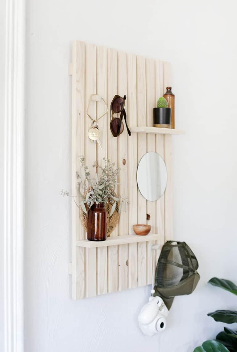 DIY slat wall trinket shelf
