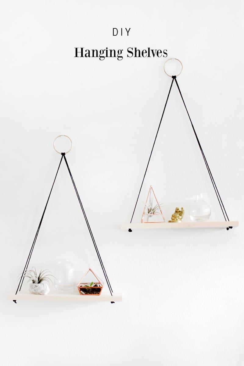 DIY string and wood floating shelves