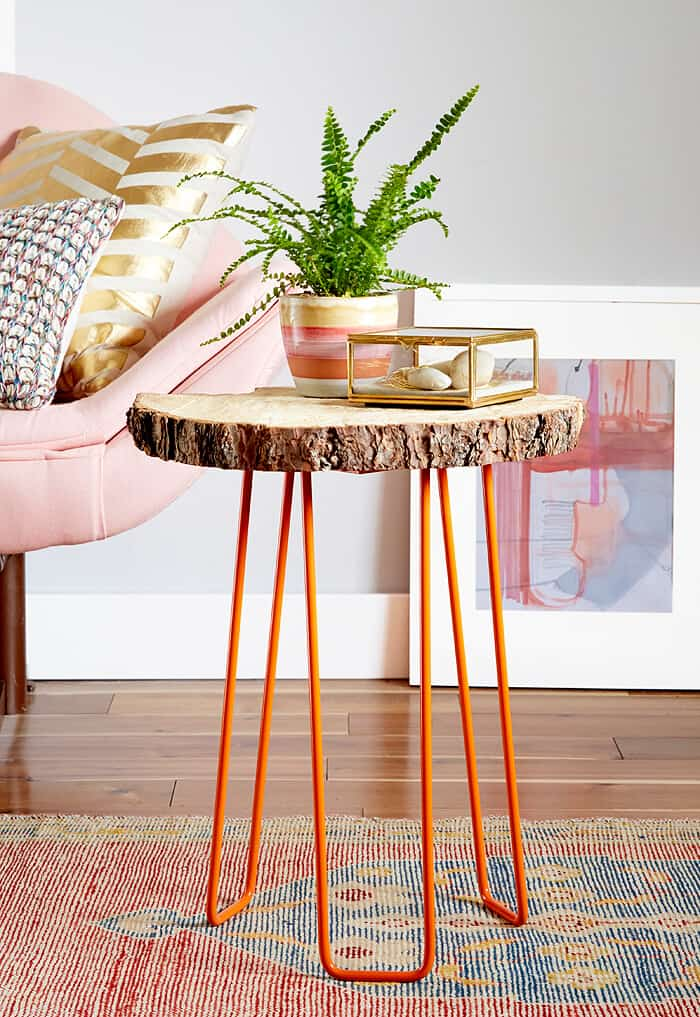 DIY tree slab table with hairpin legs
