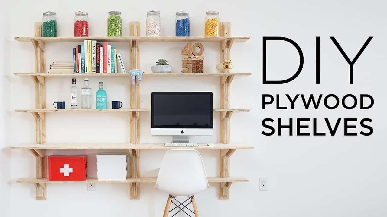 DIY wall mounted plywood shelves