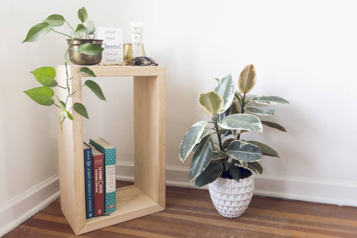 DIY wooden box side table
