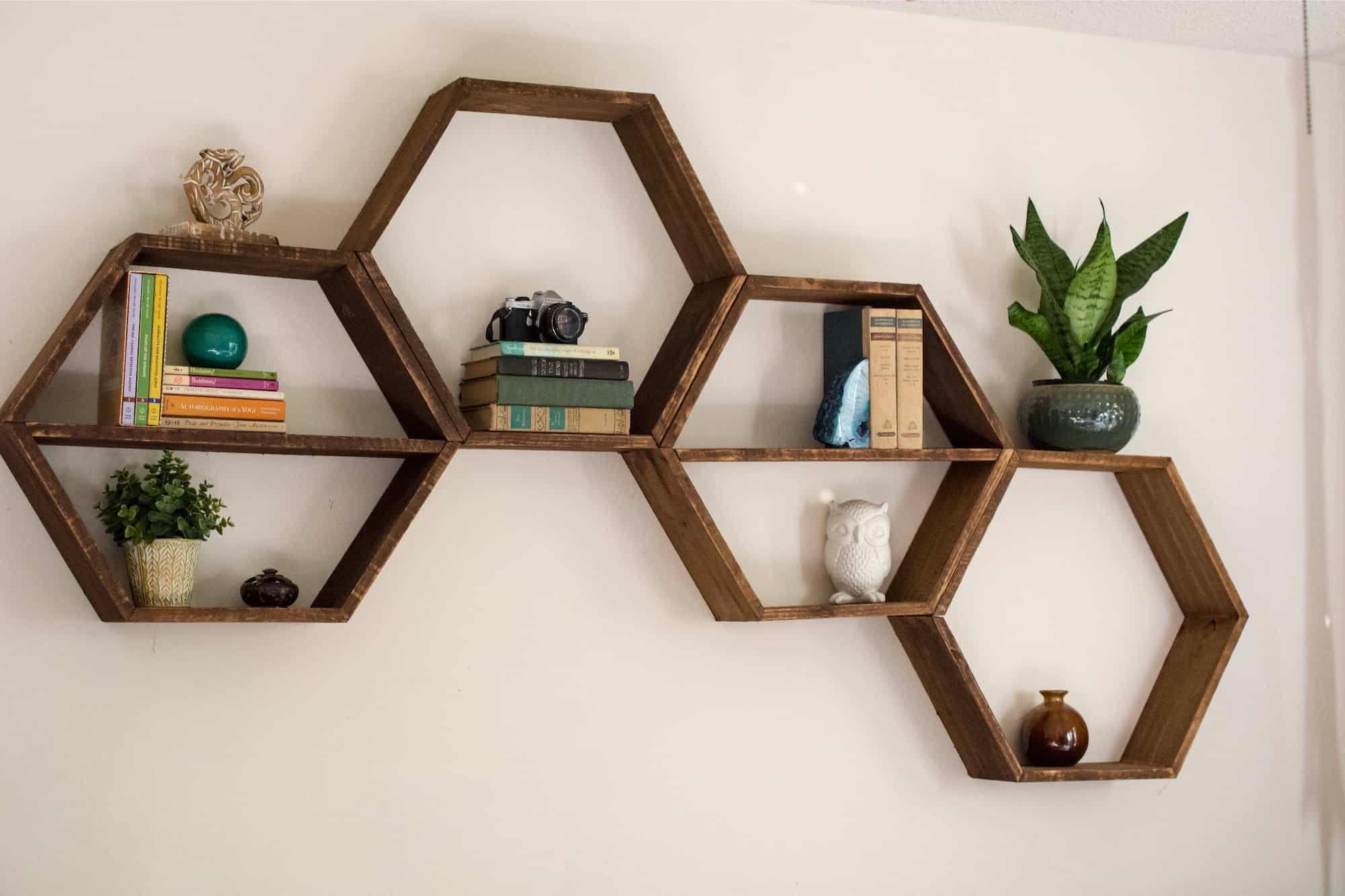 DIY wooden honeycomb shelves
