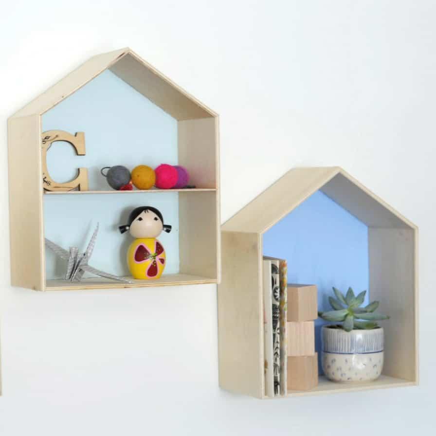 DIY wooden house trinket shelves