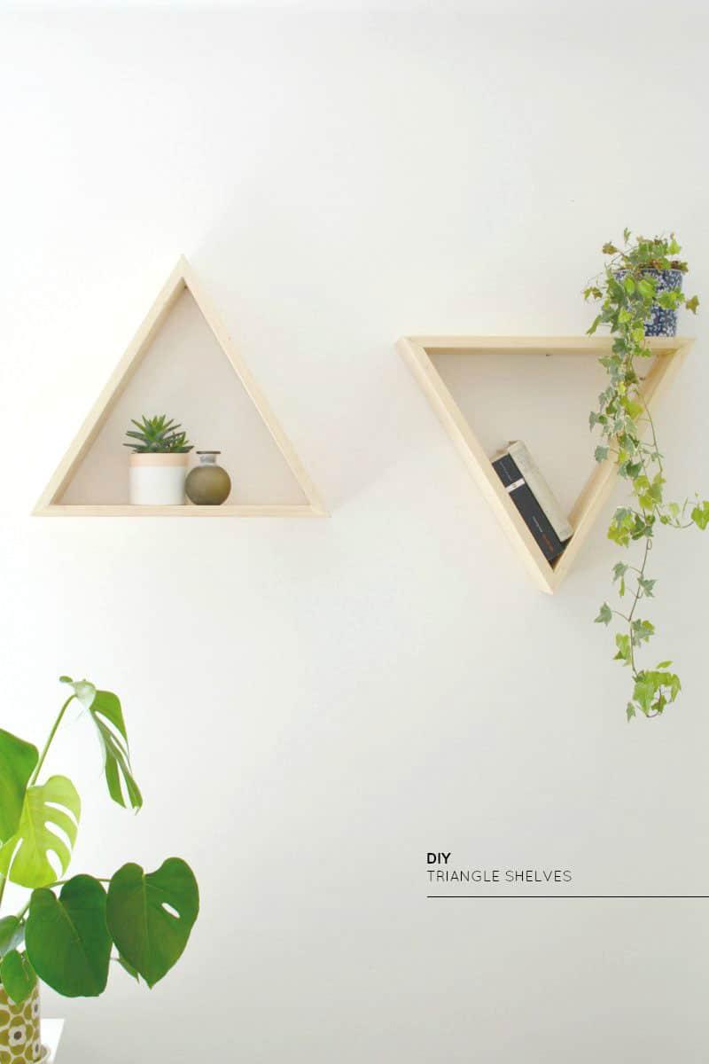 DIY wooden triangle shelves