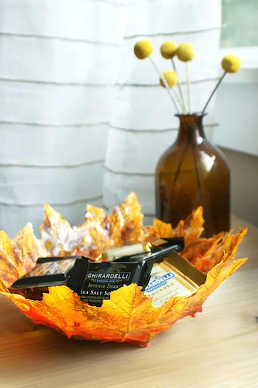 Delicate looking fall leaf bowl