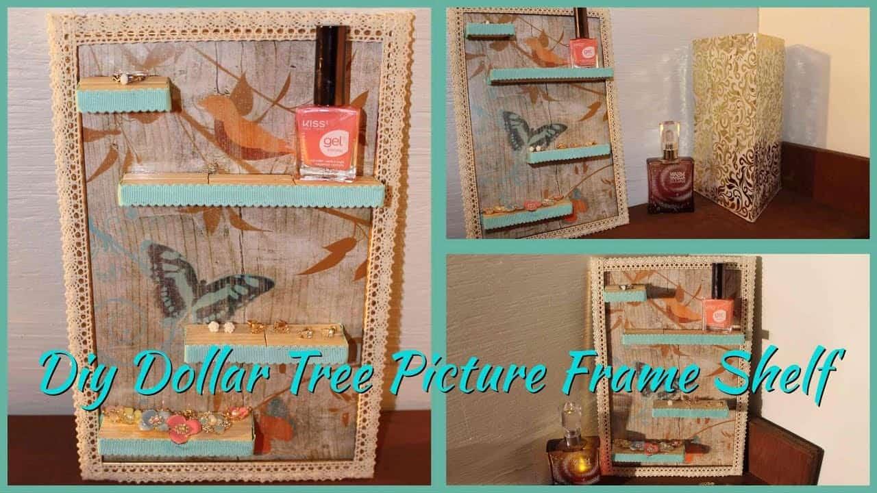 Dollar store picture frame turned trinket shelf