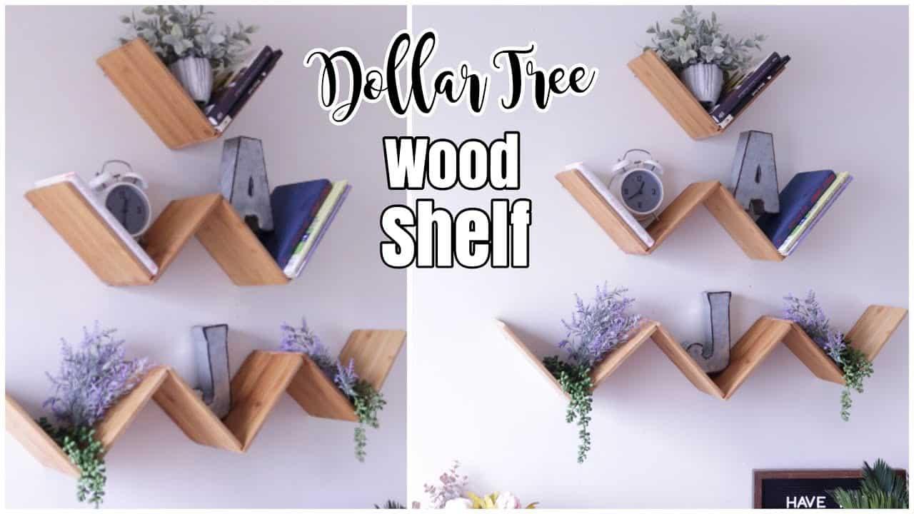 Dollar tree V's floating wood shelf