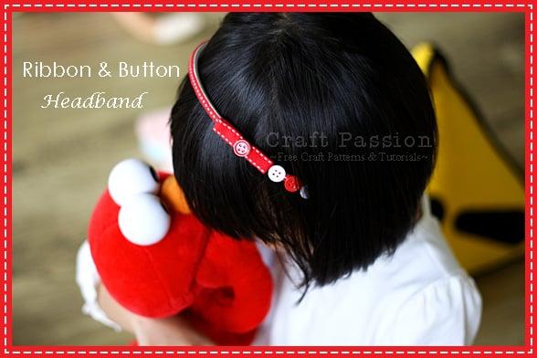 Easy ribbon and button headband