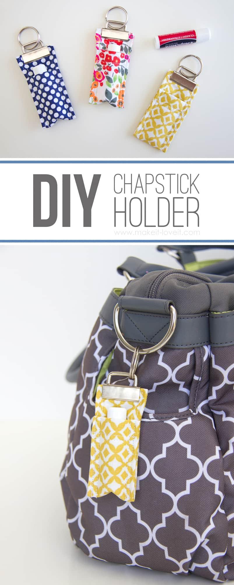 Fabric chapstick holder keychain
