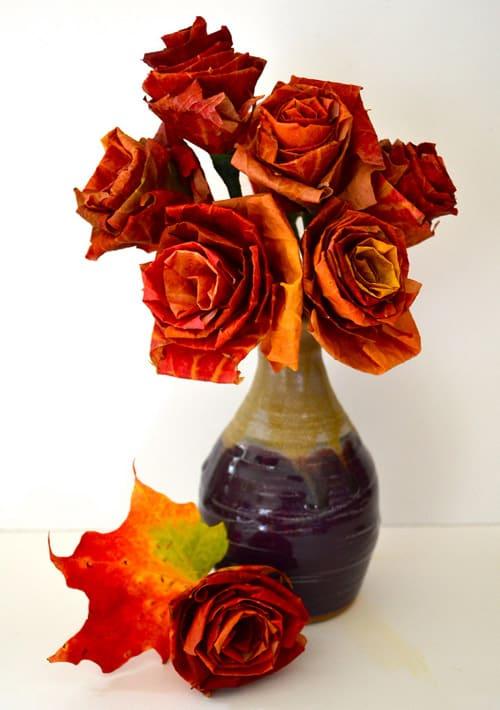 Fall leaf rose bouquet