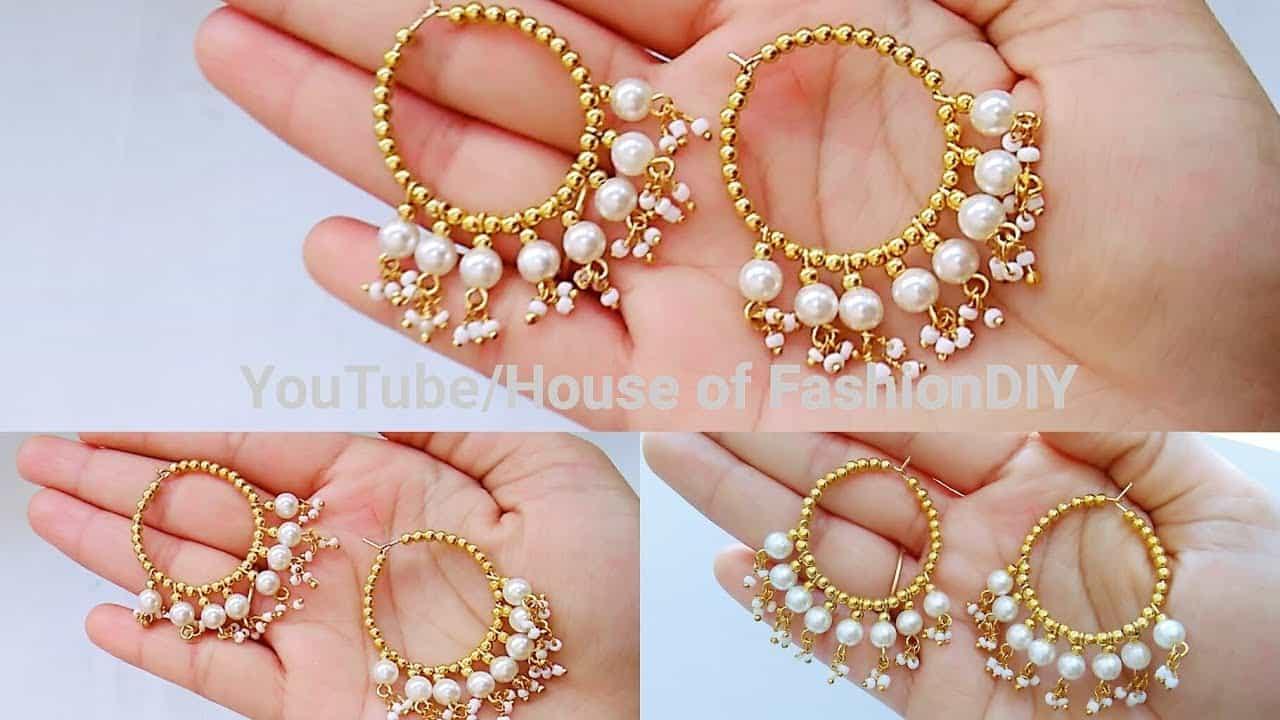 Fancy pearl hoops 15 Best DIY Earrings Ideas and Tutorials