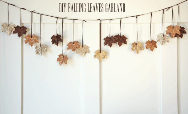 Glittered falling leaves garland