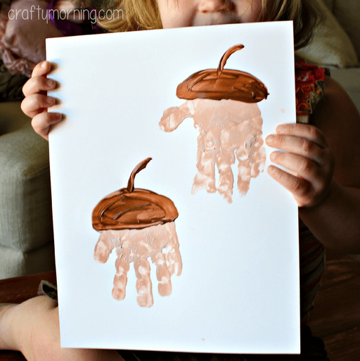 Handprint acorn crafts