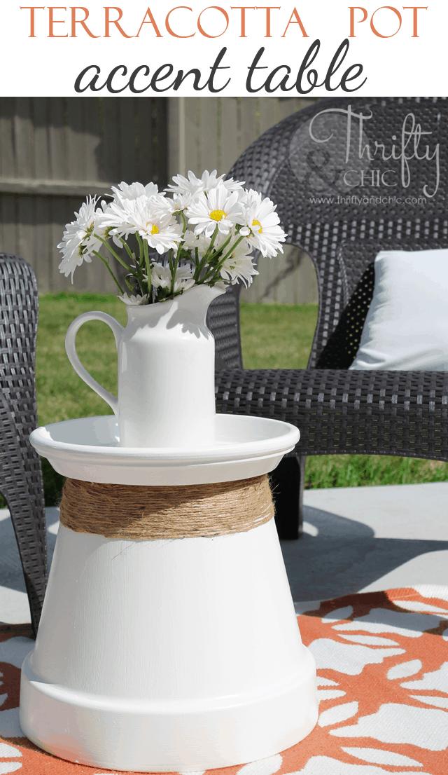 Large terra cotta pot accent table