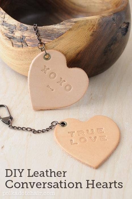 Leather conversation heart keychains
