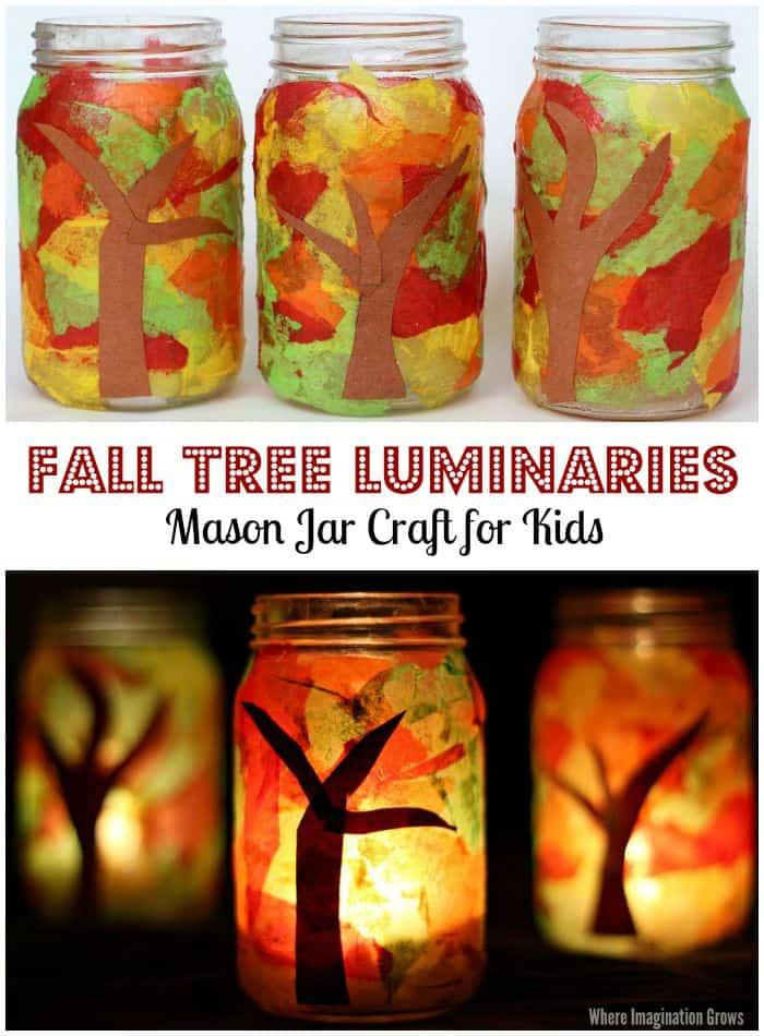 Mason jar fall tree luminaries
