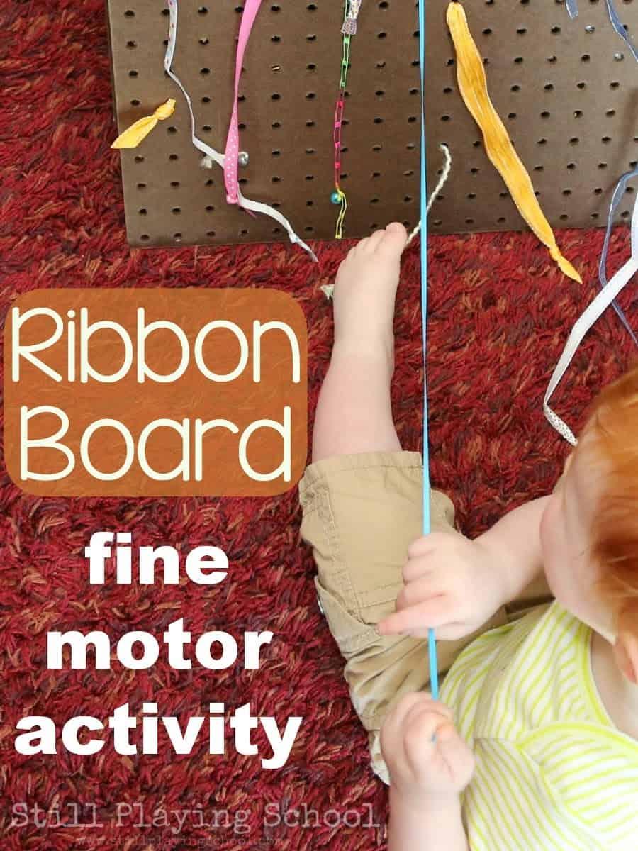 Motor skills ribbon pull board