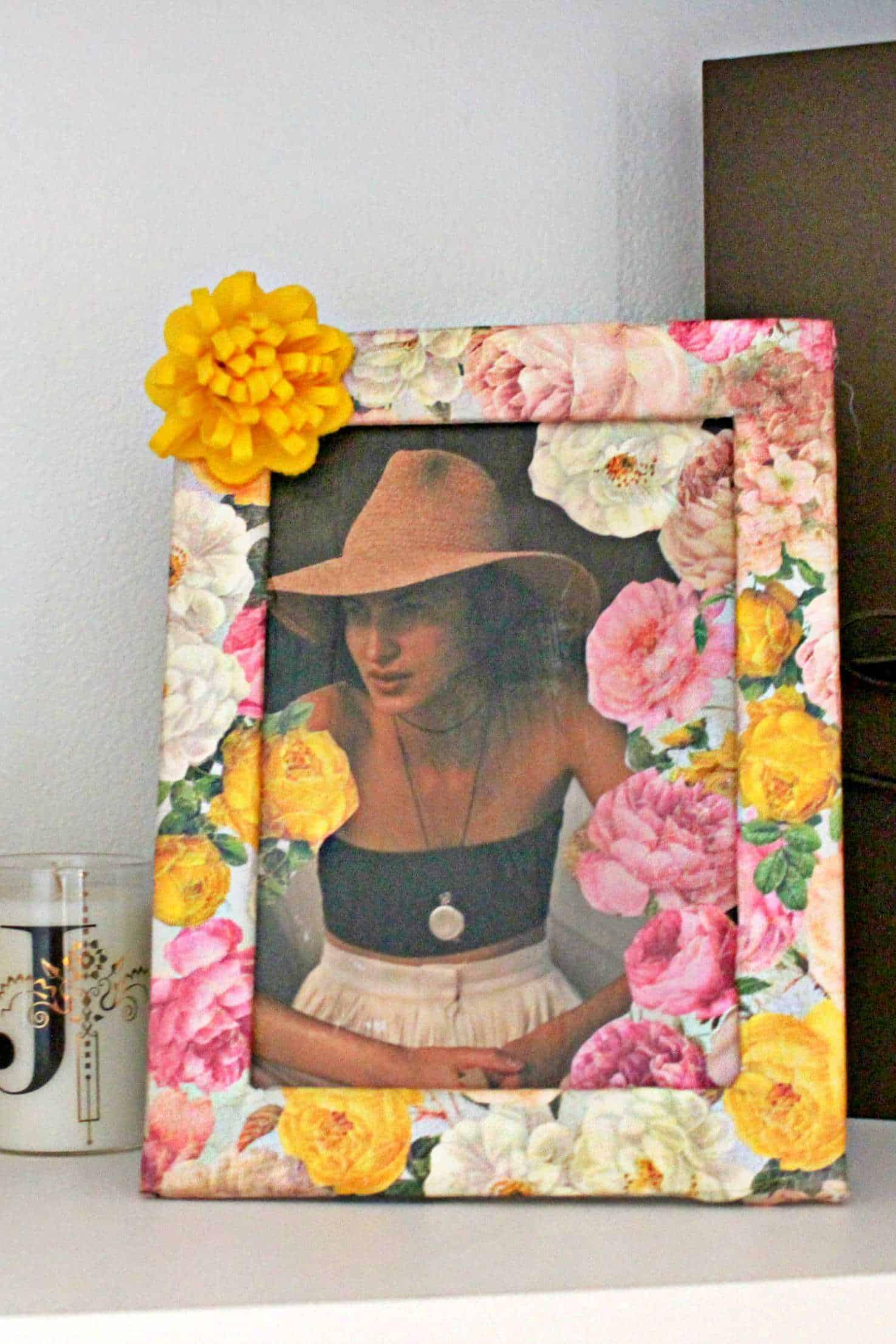 Napkin decoupage floral frame