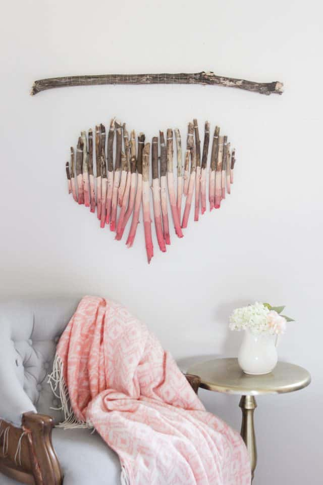 Painted ombre stick heart mobile