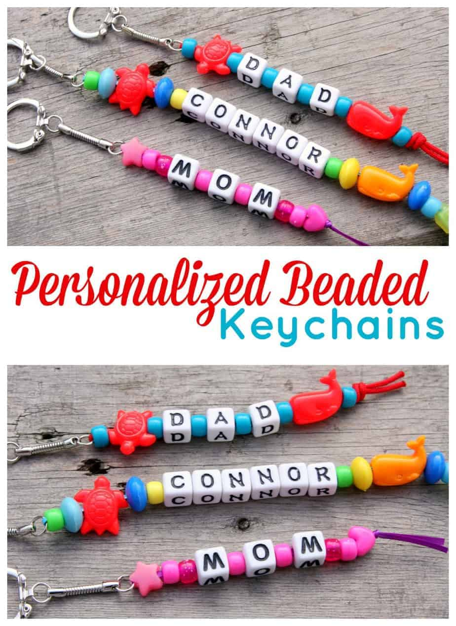Personalized beaded keychains