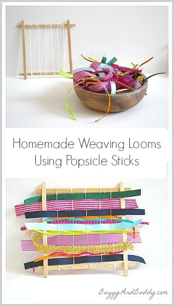Popsicle stick and ribbon weaving looms
