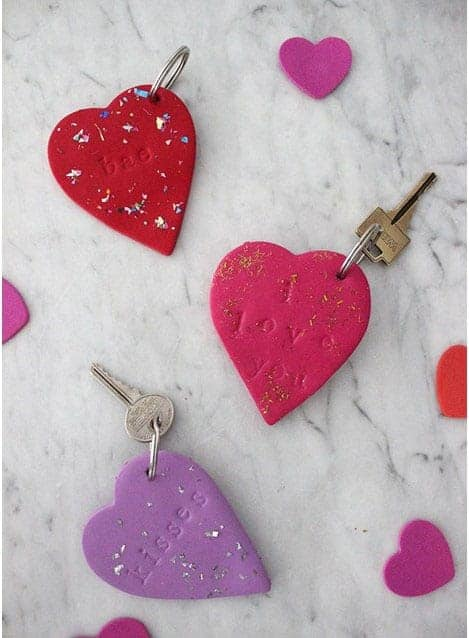 Pressed letter clay keychain