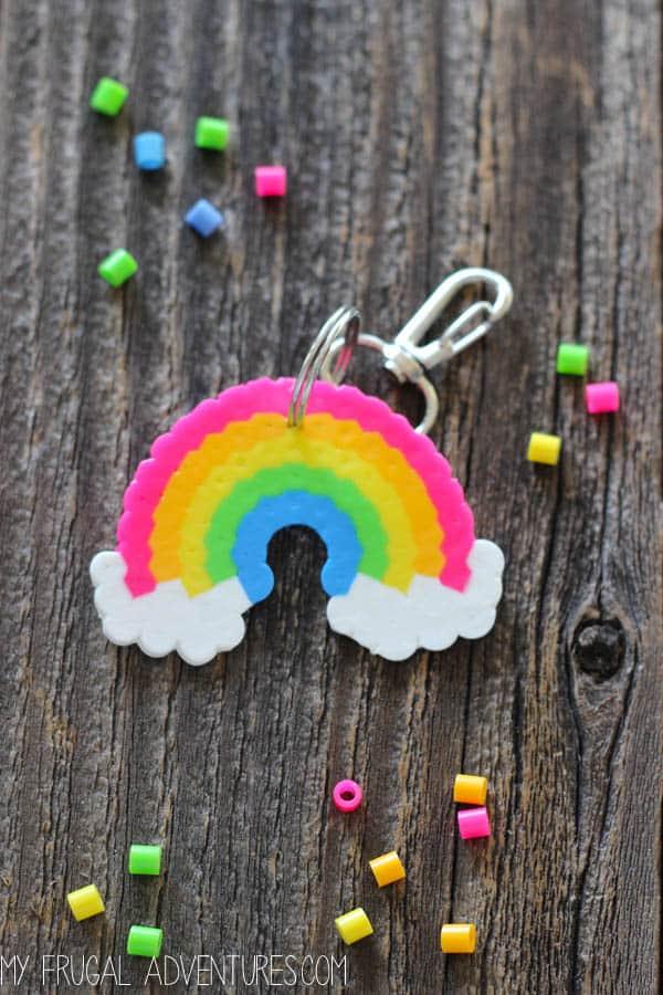 Rainbow perler bead keychain