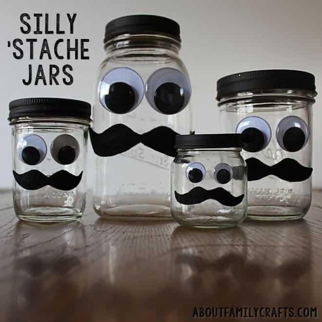 Silly stache jars 15 Best DIY Piggy Bank Ideas