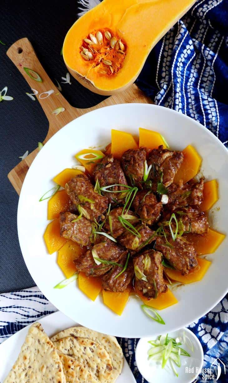 Steamed pork ribs with butternut squash