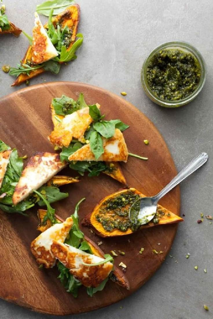 Sweet potato halloumi tartines