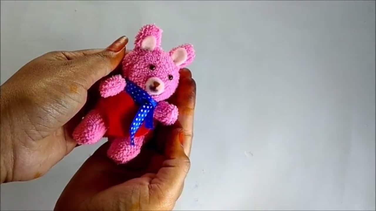 Tiny towel teddy bear