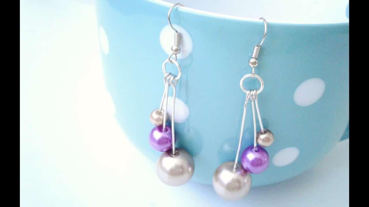 Triple dangling pearls 15 Best DIY Earrings Ideas and Tutorials