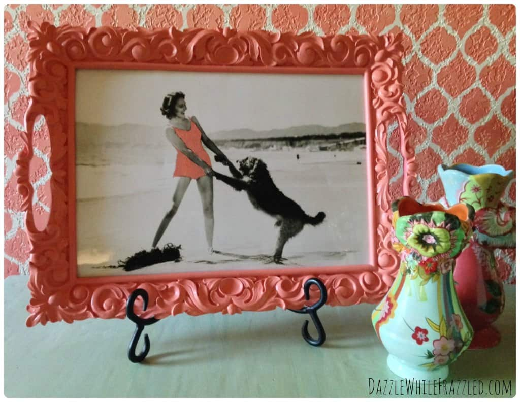 Vintage serving tray to photo frame