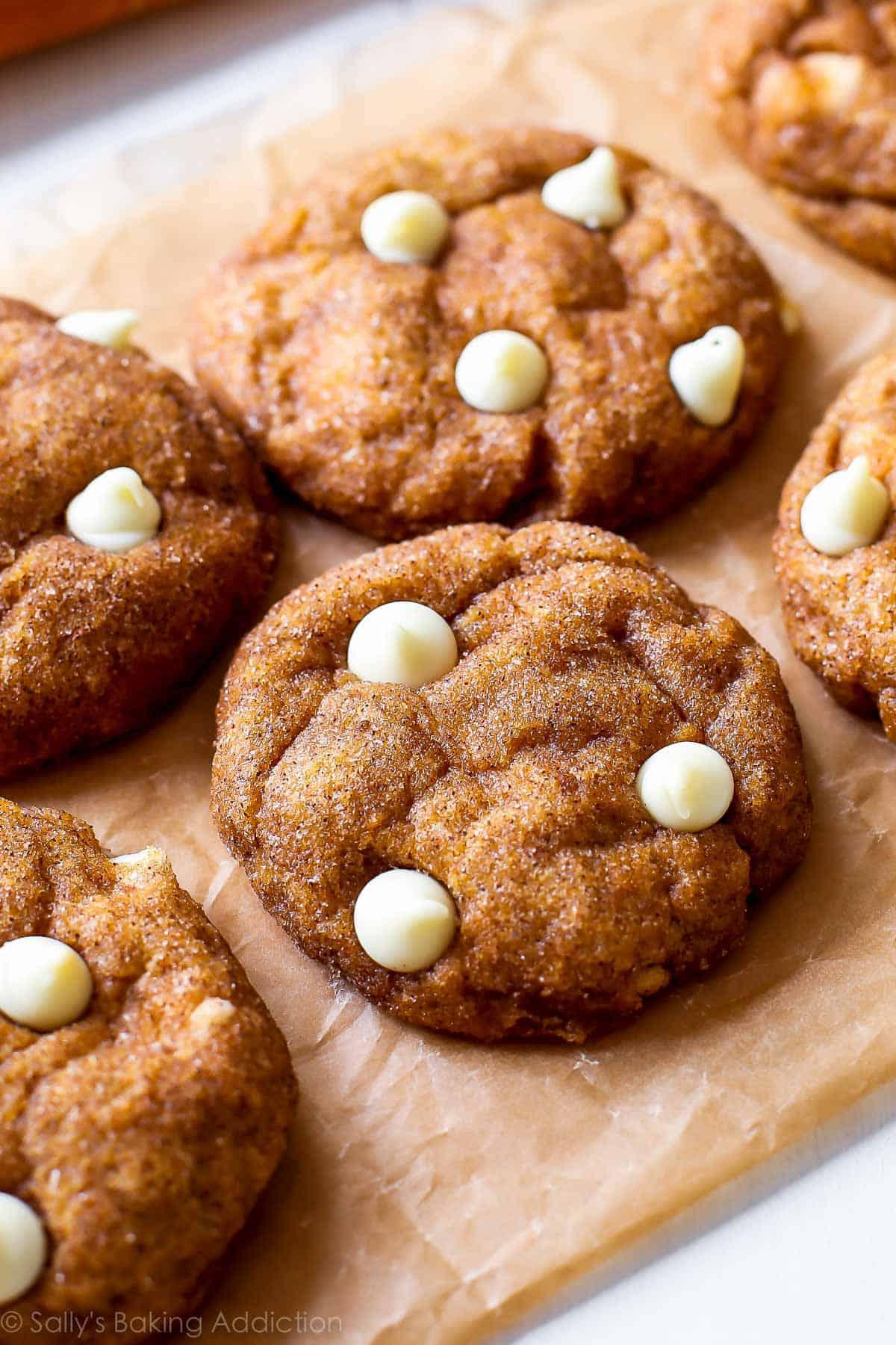 White chocolate pumpkin snickerdoodles