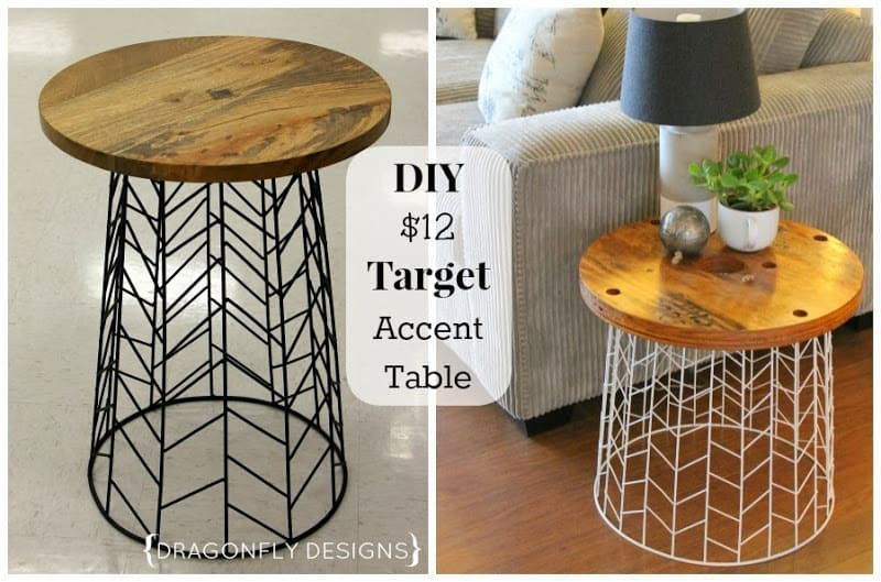 Wood and upside down basket side table 15 Best DIY Side Tables and End Tables