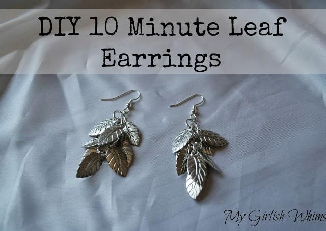 10-minute DIY silver leaf earrings