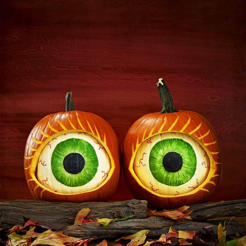 Amazing eyeball porch pumpkins