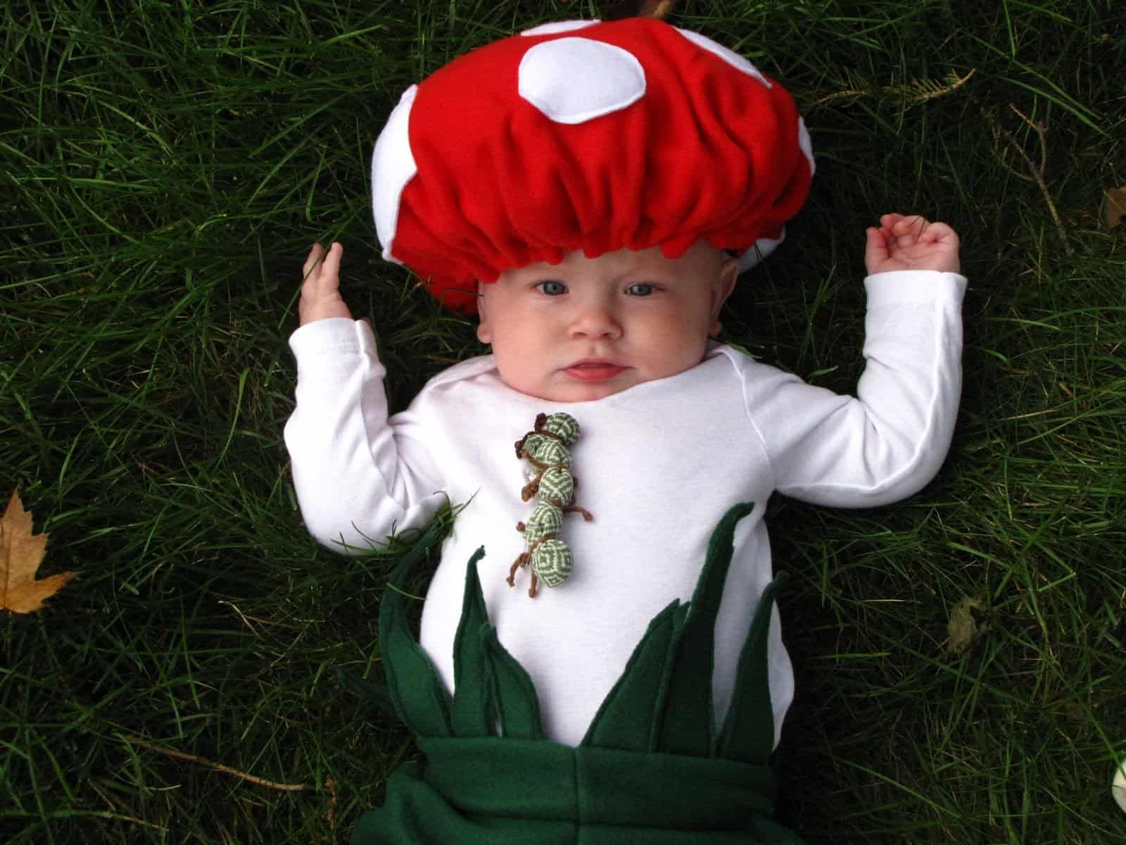 Baby mushroom with a caterpillar