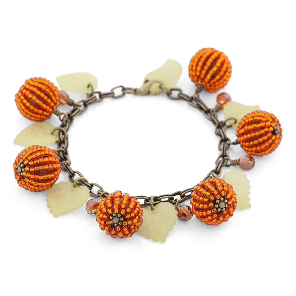 Beaded pumpkin patch bracelet