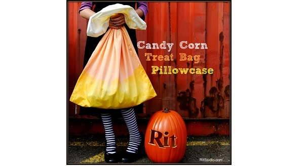 Candy corn ombra dyed pillowcase treat bag