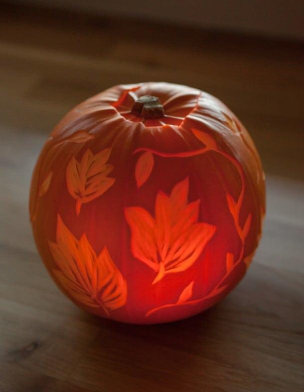 Cool leaf pumpkin etching