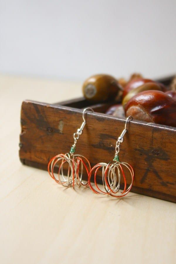 Cute wire pumpkin earrings