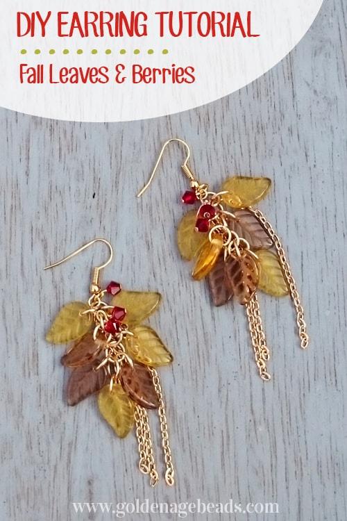 DIY fall leaves and berries earrings 15 Best DIY Fall Jewelry Tutorials for Creative Peeps