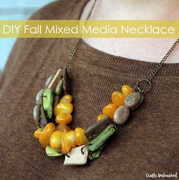 DIY fall mixed media necklace 15 Best DIY Fall Jewelry Tutorials for Creative Peeps